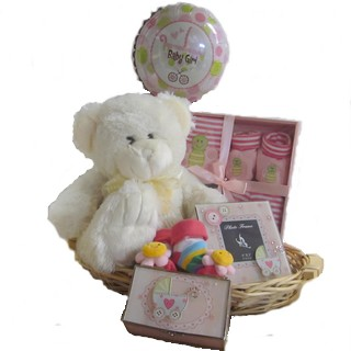 Baby Baskets - Send a Basket - p-819-baby-girl-cream-bear