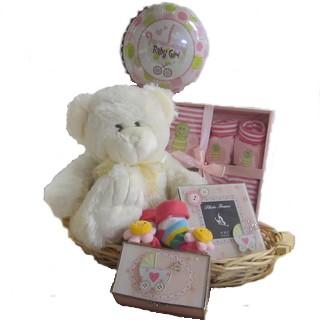 Baby Baskets - Send a Basket - p-819-baby-girl-cream-bear