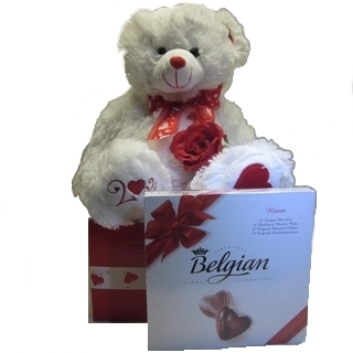 Romantic Basket - Send a Basket - p-1176-white-teddy-choc-box-60