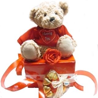 Romantic Basket - Send a Basket - p-1180-ily-bear-with-heart-chocs-55