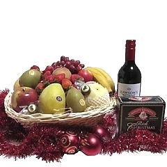 Gift Hamper - Send a Basket - p-638-mail-chimp-Christmas-Fruit-wine-Christmas-Cake-Basket-$110-1
