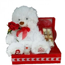 Baby Gift Baskets - Send a Basket - White Heart Bear Gift Box 66