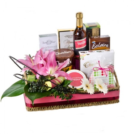 Gift Hamper - Send a Basket - ladies gourmet and fls H76 450x450