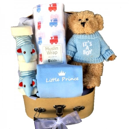 baby gift - send a basket - teddy & trains