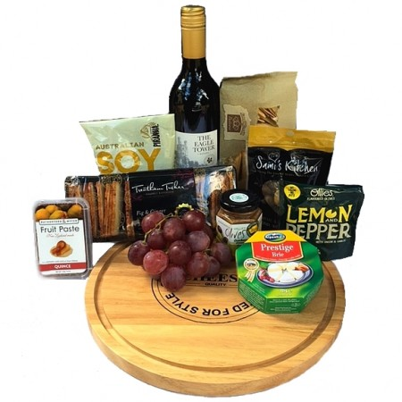 gourmet hamper - send a basket cheese & nibbles board Lge